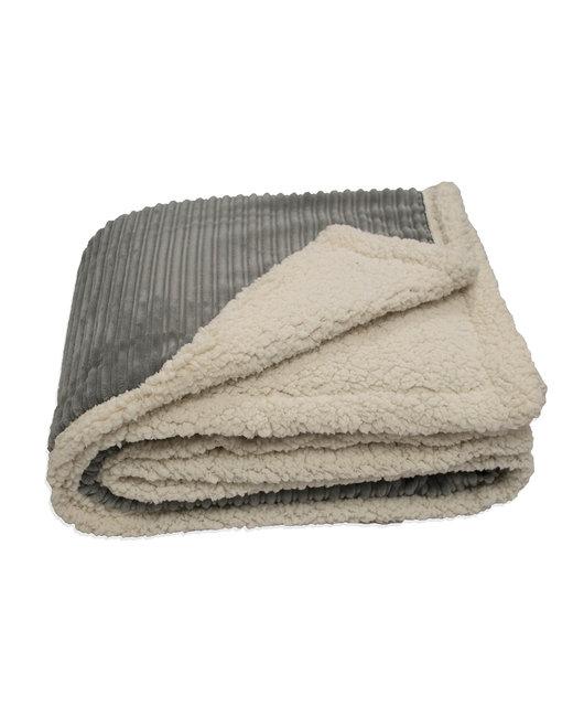 Kanata Blanket Corduroy Lambswool Throw Blanket - Gray