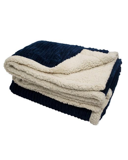 Kanata Blanket Corduroy Lambswool Throw Blanket - Navy