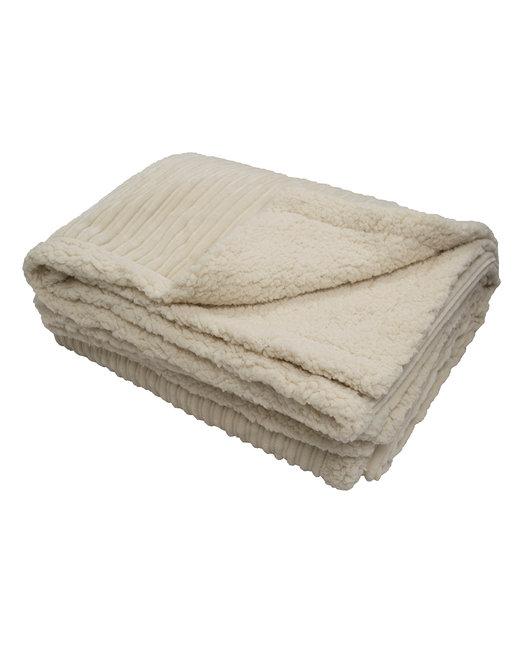 Kanata Blanket Corduroy Lambswool Throw Blanket - Cream