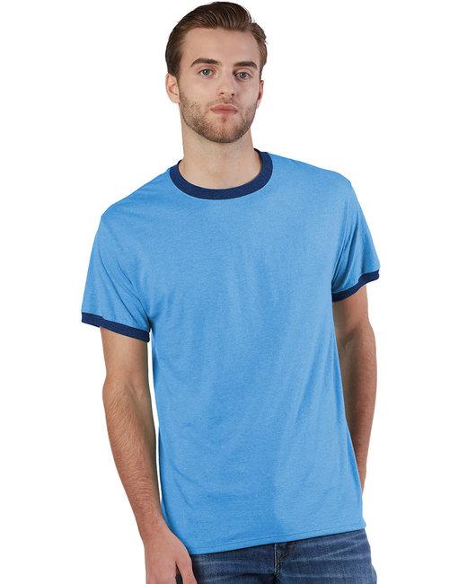 Champion Adult Triblend Ringer T-Shirt - Lt Blu Ht/ Nv Ht