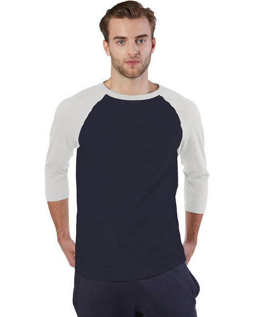 Champion Adult Ringspun Slub Baseball T-Shirt - Navy/ Chalk Wht
