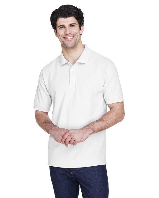 Devon & Jones Men's Pima Piqué Short-Sleeve Polo - White