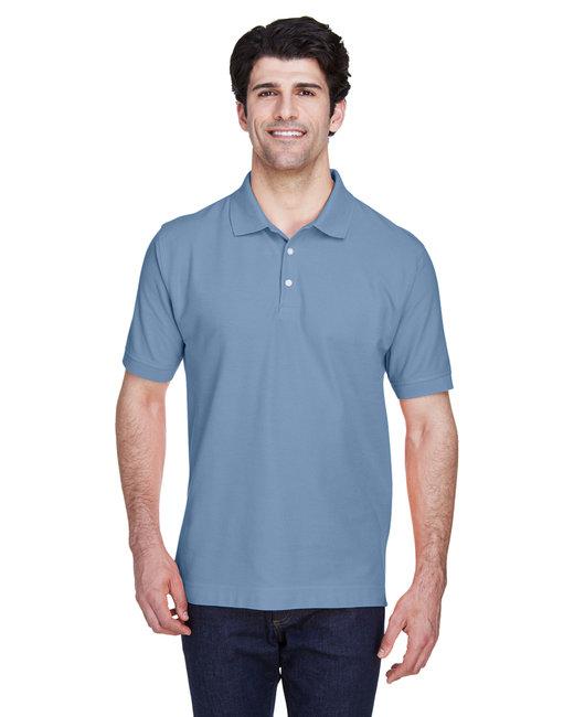 Devon & Jones Men's Pima Piqué Short-Sleeve Polo - Slate Blue