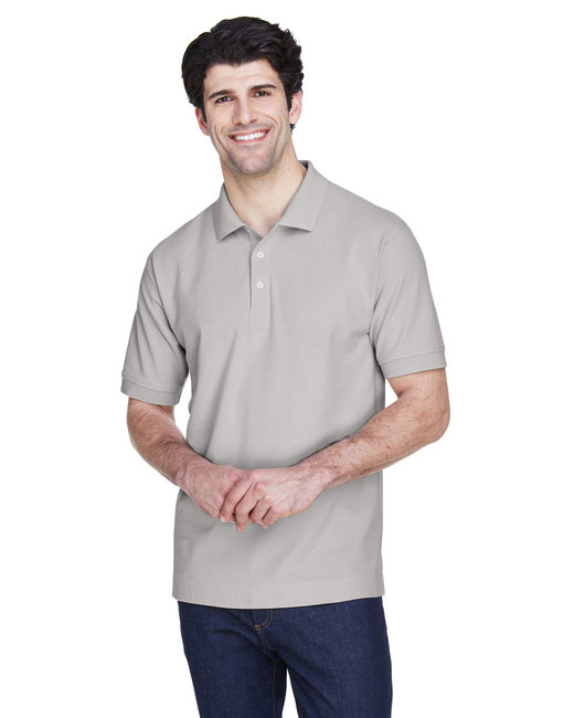 Devon & Jones Men's Pima Piqué Short-Sleeve Polo - Silver