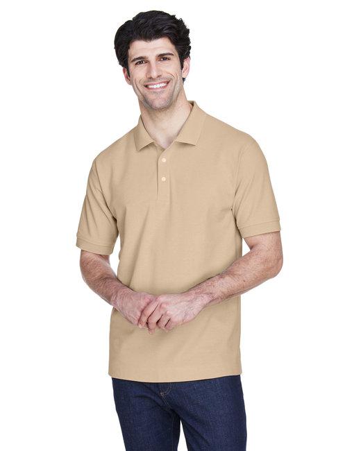 Devon & Jones Men's Pima Piqué Short-Sleeve Polo - Stone