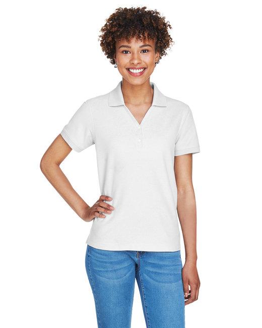 Devon & Jones Ladies' Pima Piqué Short-Sleeve Y-Collar Polo - White