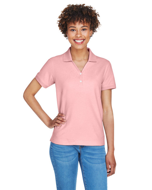 Devon & Jones Ladies' Pima Piqu� Short-Sleeve Y-Collar Polo - Pink