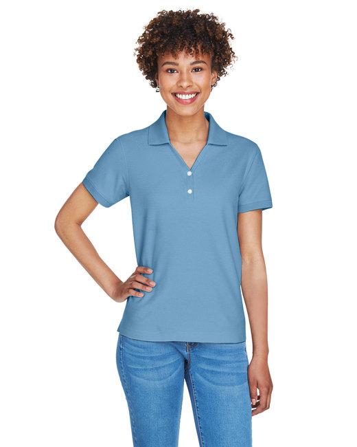 Devon & Jones Ladies' Pima Piqué Short-Sleeve Y-Collar Polo - Slate Blue