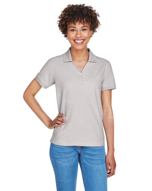 Devon & Jones Ladies' Pima Piqué Short-Sleeve Y-Collar Polo - Silver