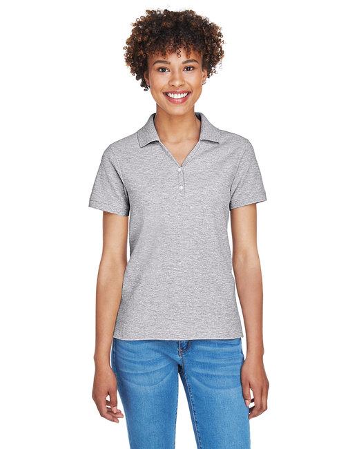 Devon & Jones Ladies' Pima Piqué Short-Sleeve Y-Collar Polo - Grey Heather