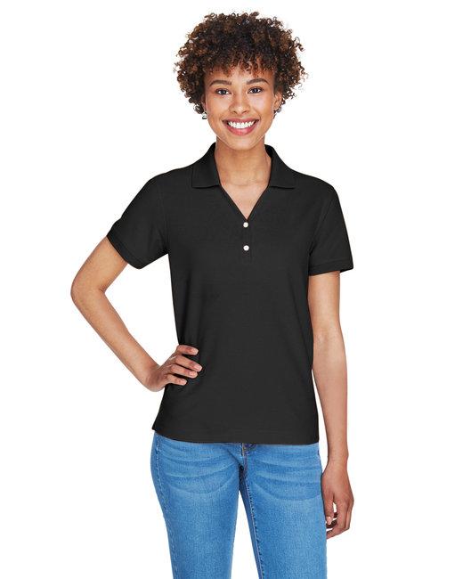 Devon & Jones Ladies' Pima Piqué Short-Sleeve Y-Collar Polo - Black