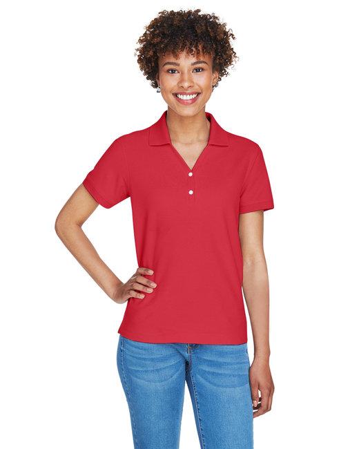 Devon & Jones Ladies' Pima Piqué Short-Sleeve Y-Collar Polo - Red