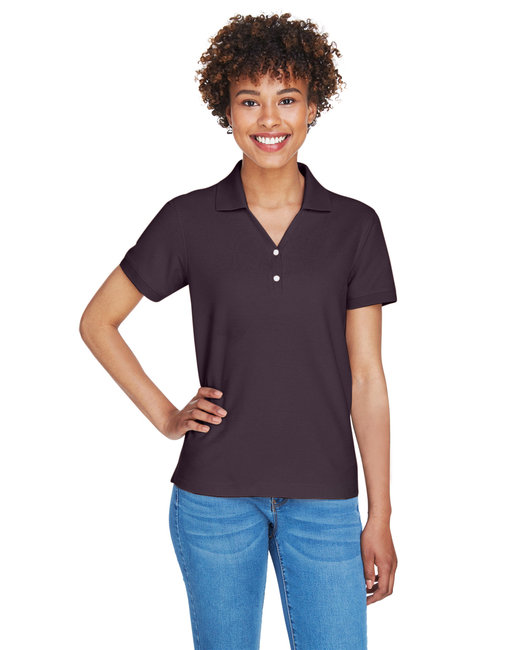 Devon & Jones Ladies' Pima Piqu� Short-Sleeve Y-Collar Polo - Espresso