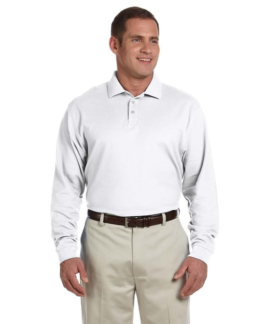 Devon & Jones Men's Pima Piqué Long-Sleeve Polo - White
