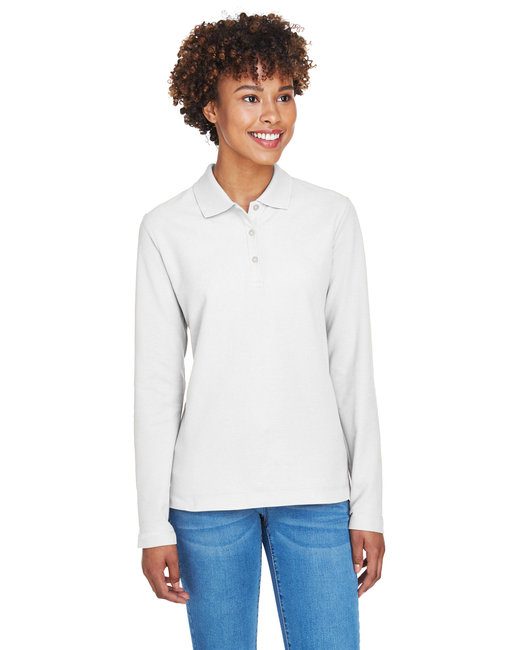 Devon & Jones Ladies' Pima Piqu� Long-Sleeve Polo - White