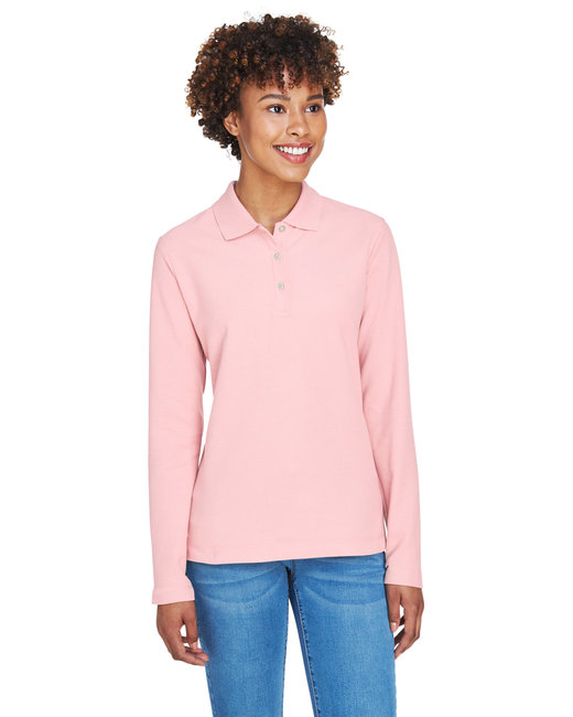 Devon & Jones Ladies' Pima Piqu� Long-Sleeve Polo - Pink