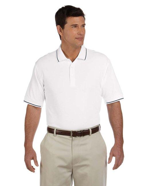 Devon & Jones Men's Pima Piqu� Short-Sleeve Tipped Polo - White/ Navy