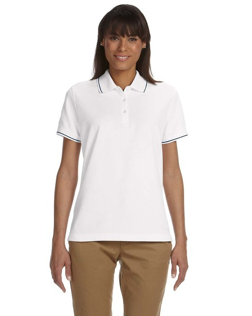 Devon & Jones Ladies' Pima Piqu� Short-Sleeve Tipped Polo - White/ Navy