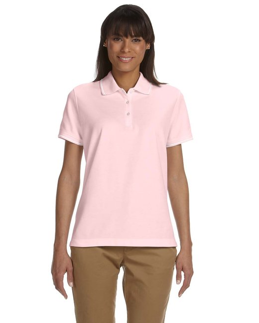 Devon & Jones Ladies' Pima Piqu� Short-Sleeve Tipped Polo - Pink/ White
