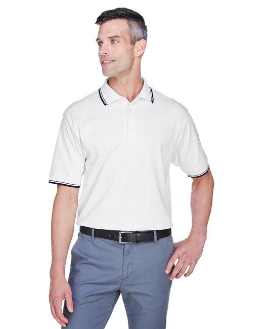 Devon & Jones Men's Tipped Perfect Pima Interlock Polo - White/ Navy