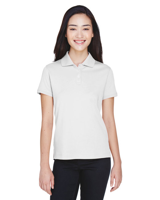 Devon & Jones Ladies' Solid Perfect Pima Interlock Polo - White
