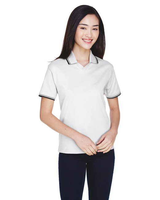 Devon & Jones Ladies' Tipped Perfect Pima Interlock Polo - White/ Navy
