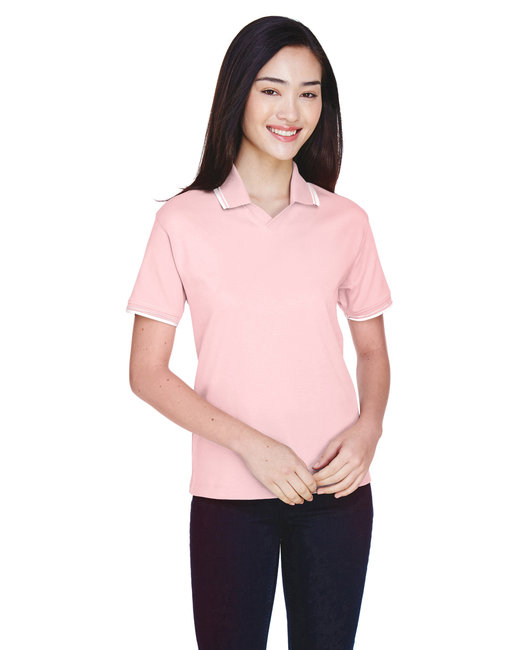 Devon & Jones Ladies' Tipped Perfect Pima Interlock Polo - Pink/ White