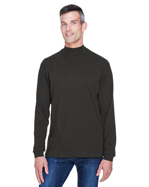 Devon & Jones Adult Sueded Cotton Jersey Mock Turtleneck - Black