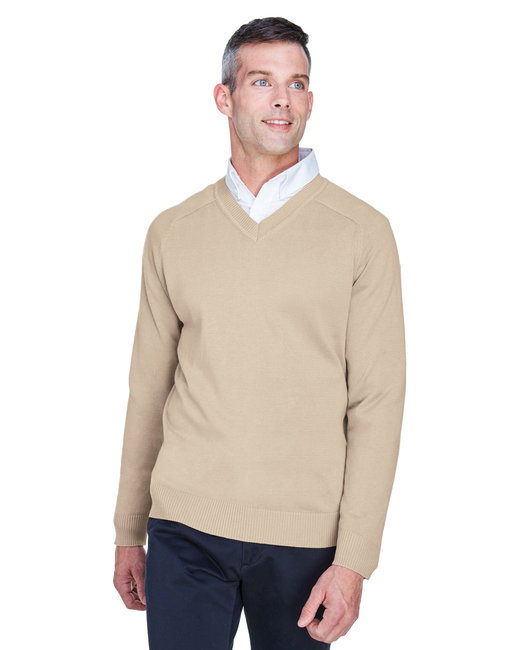 Devon & Jones Men's V-Neck Sweater - Stone