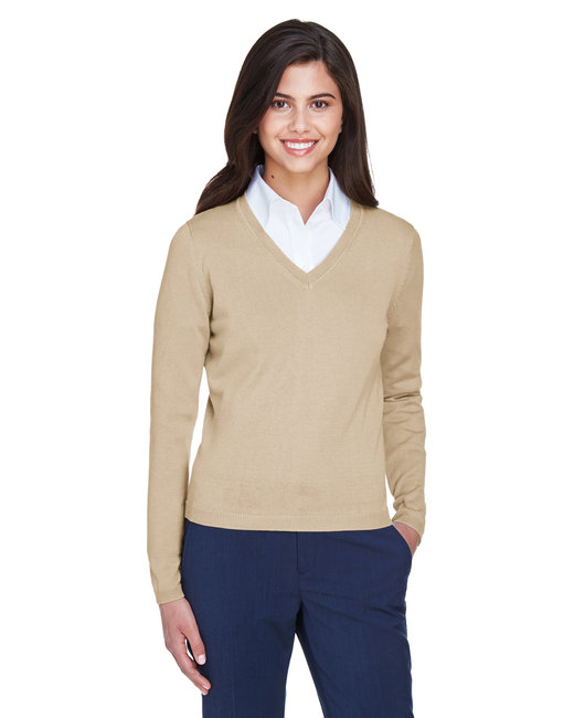 Devon & Jones Ladies' V-Neck Sweater - Stone
