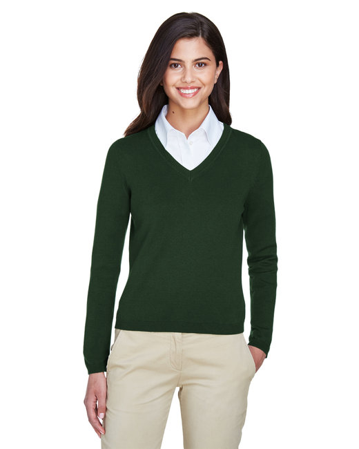 Devon & Jones Ladies' V-Neck Sweater - Forest