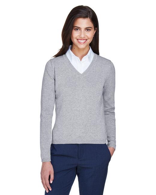 Devon & Jones Ladies' V-Neck Sweater - Grey Heather