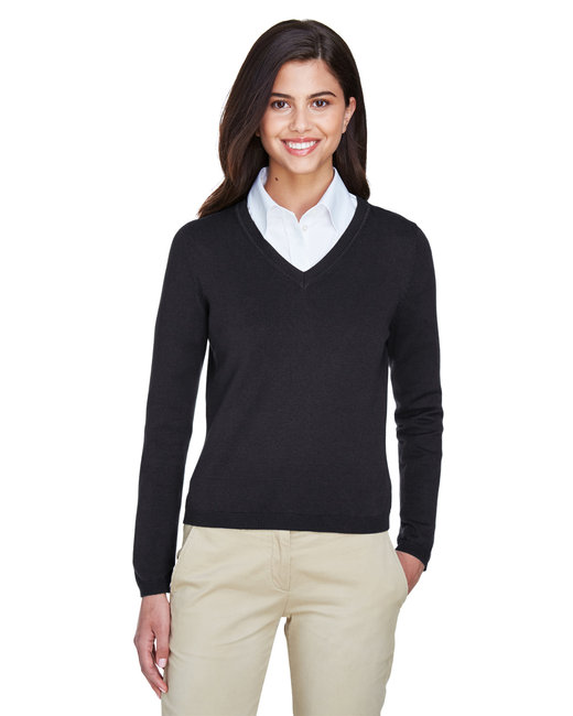 Devon & Jones Ladies' V-Neck Sweater - Black