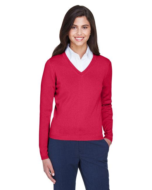Devon & Jones Ladies' V-Neck Sweater - Red