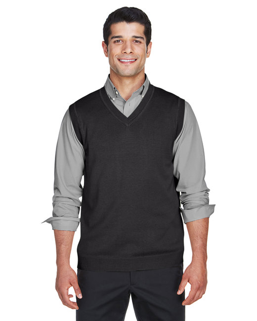 Devon & Jones Adult V-Neck Vest - Black