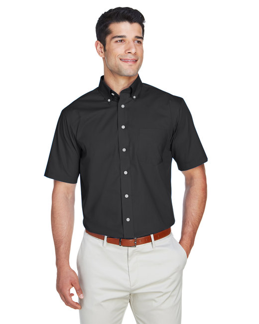 Devon & Jones Men's Crown Woven Collection� Solid�Broadcloth Short-Sleeve Shirt - Black