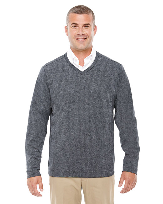 Devon & Jones Adult Fairfield Herringbone V-Neck Pullover - Dk Grey Heather