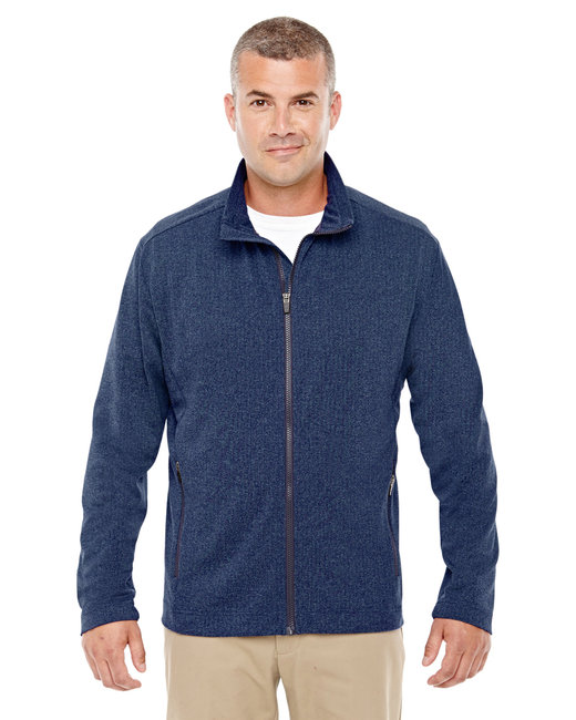 Devon & Jones Men's Fairfield Herringbone Full-Zip Jacket - Navy Heather