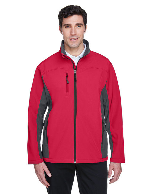 Devon & Jones Men's Soft Shell Colorblock Jacket - Red/ Dk Charcoal