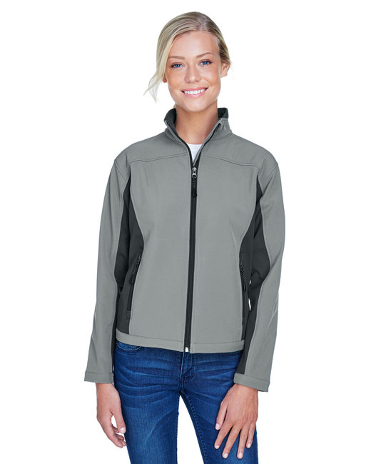 Devon & Jones Ladies' Soft Shell Colorblock Jacket - Charcl/ Dk Chrcl