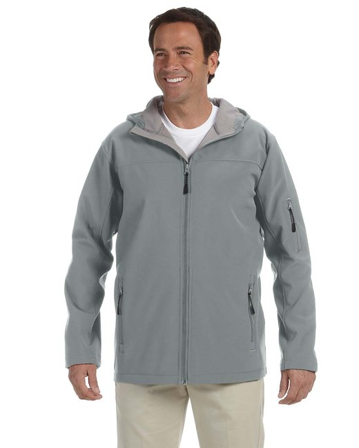 Devon & Jones Men's Soft Shell Hooded Jacket - Charcoal