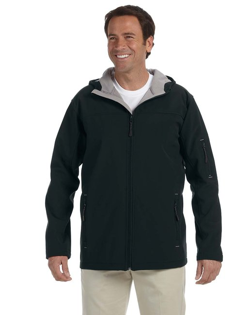 Devon & Jones Men's Soft Shell Hooded Jacket - Black
