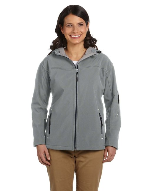 Devon & Jones Ladies' Soft Shell Hooded Jacket - Charcoal