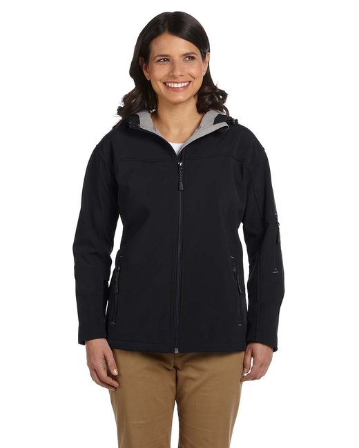 Devon & Jones Ladies' Soft Shell Hooded Jacket - Black