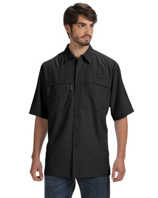 Dri Duck Men's 100% Polyester Short-Sleeve Fishing Shirt - Black