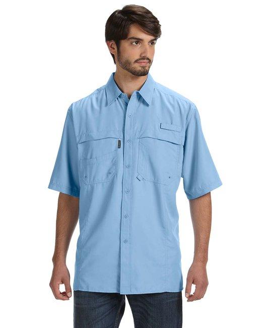 Dri Duck Men's 100% Polyester Short-Sleeve Fishing Shirt - Sky