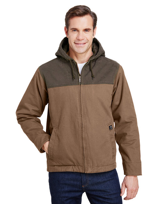 Dri Duck Men's 12 oz. 100% Cotton Canvas Hooded Terrain Jacket - Field Khaki