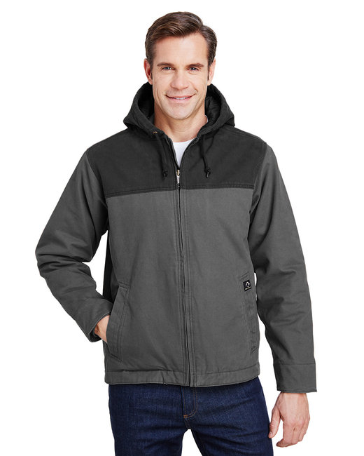 Dri Duck Men's 12 oz. 100% Cotton Canvas Hooded Terrain Jacket - Charcoal