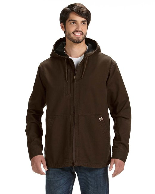 Dri Duck Men's 100% Cotton 12 oz. Canvas/Polyester Thermal Lining Hooded Tall Laredo Jacket - Tobacco
