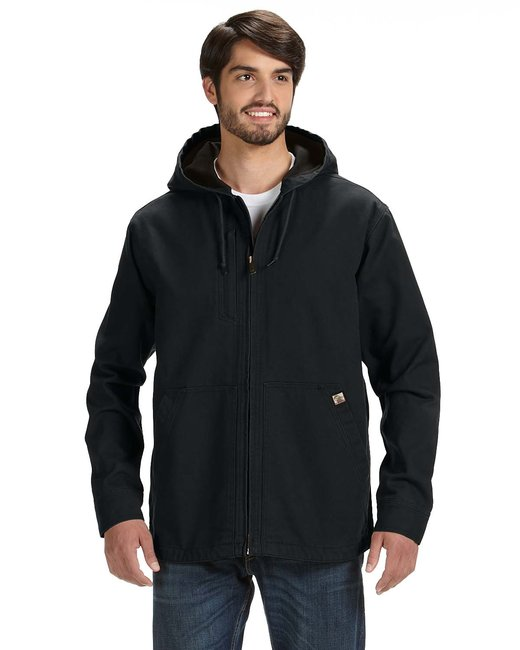 Dri Duck Men's 100% Cotton 12 oz. Canvas/Polyester Thermal Lining Hooded Tall Laredo Jacket - Black
